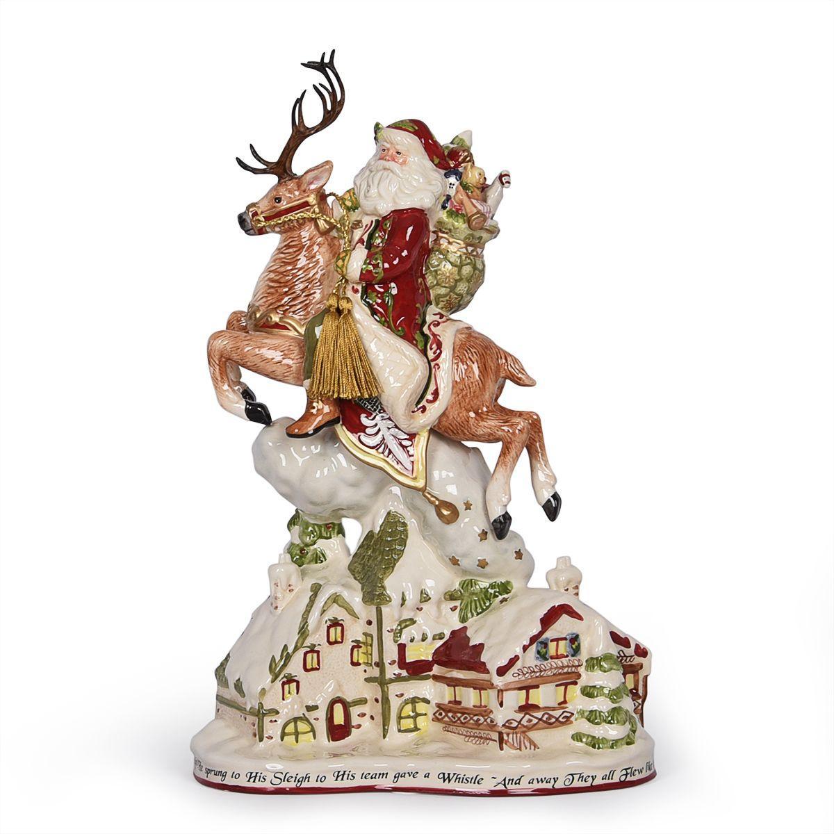 Новогодняя статуэтка в виде скачущего на олене Санты
