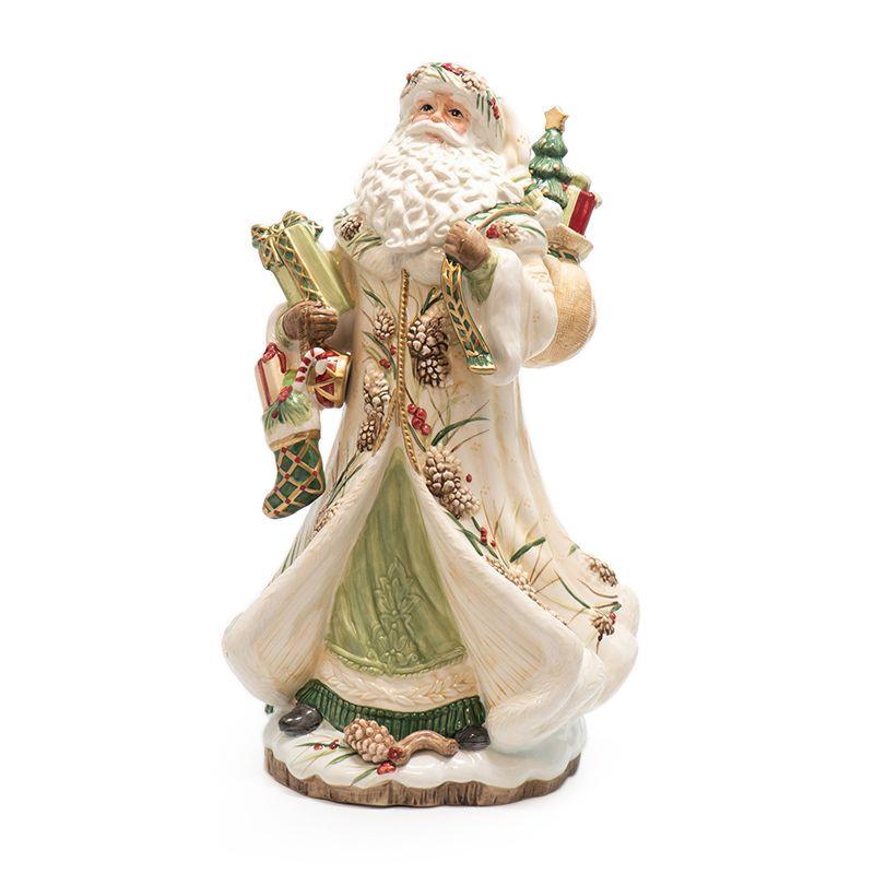 """Статуэтка """"Дед Мороз с подарками"""" декорированный шишками"""
