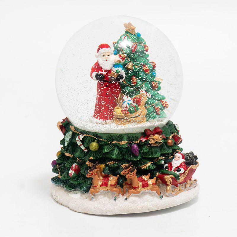 """Новогодняя статуэтка-шар """"Санта возле елки с подарками"""""""