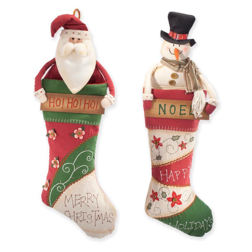 Носочки для подарков с Дедом Морозом и Снеговиком