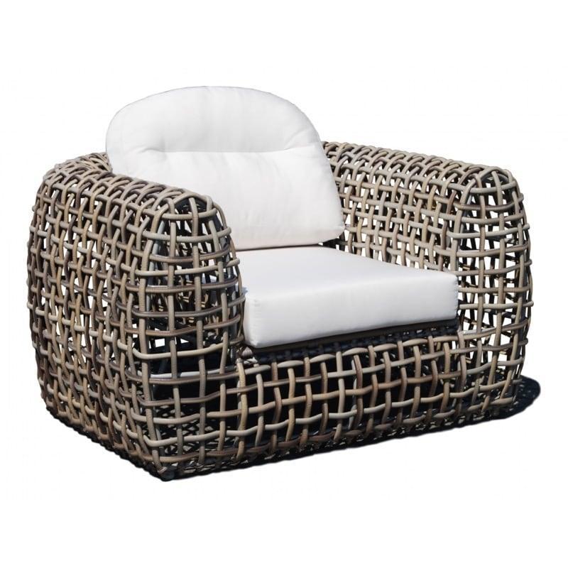 Кресло с плетеной основой из серого техноротанга Dynasty