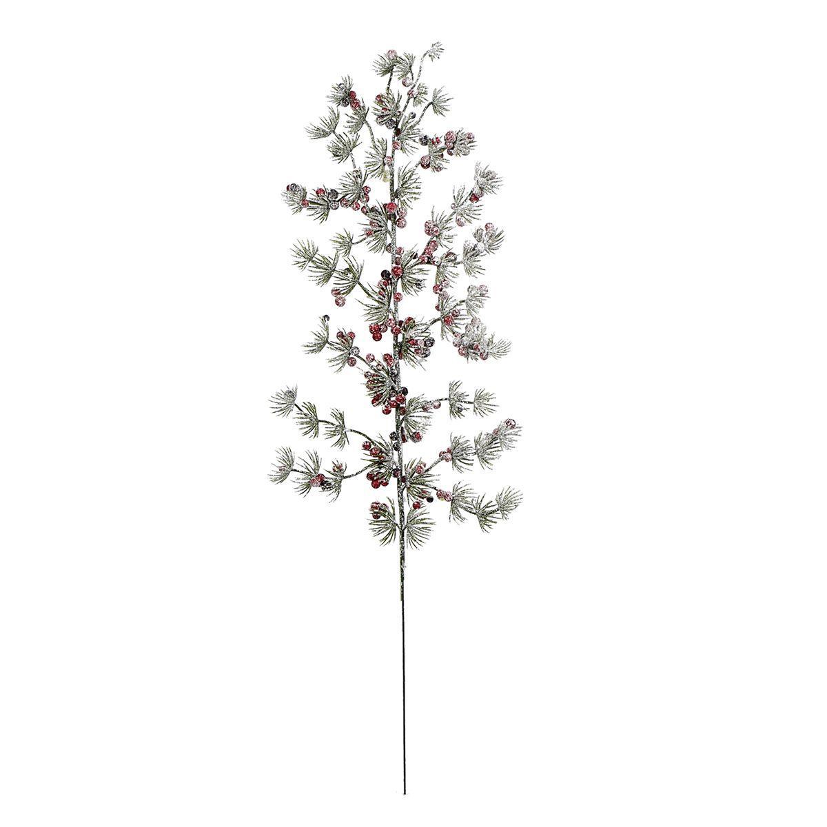 Декоративная хвойная ветка с мелкими красными ягодками