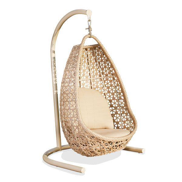 Подвесное плетеное кресло на стойке с подушкой Journey