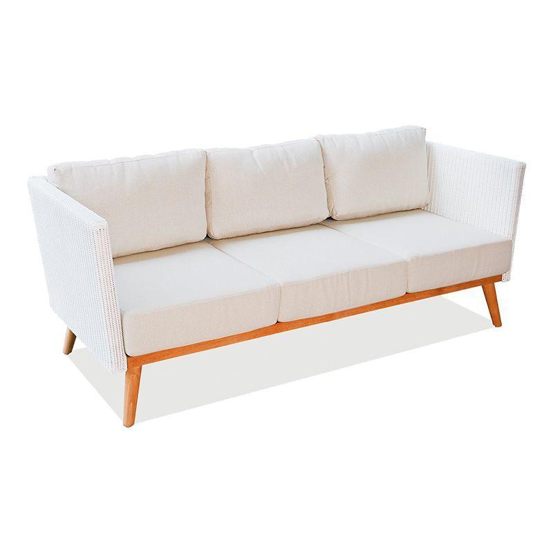 Мягкий 3-местный диван с ротанговыми боковинами POB