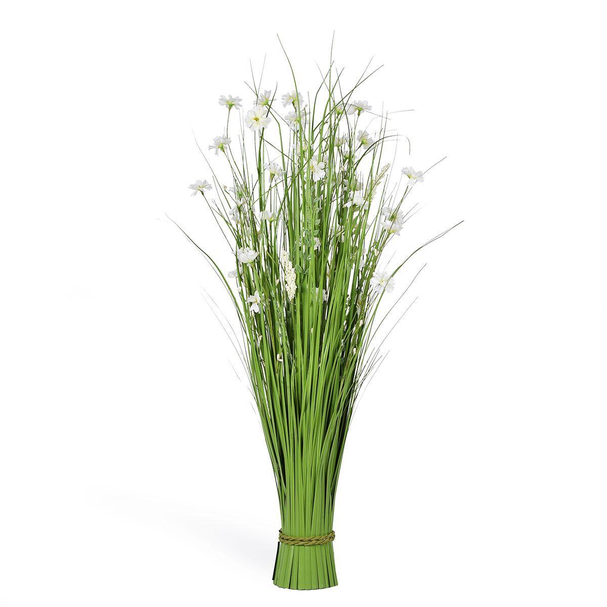 Декоративный букет из тонкой травы с цветами Ромашки