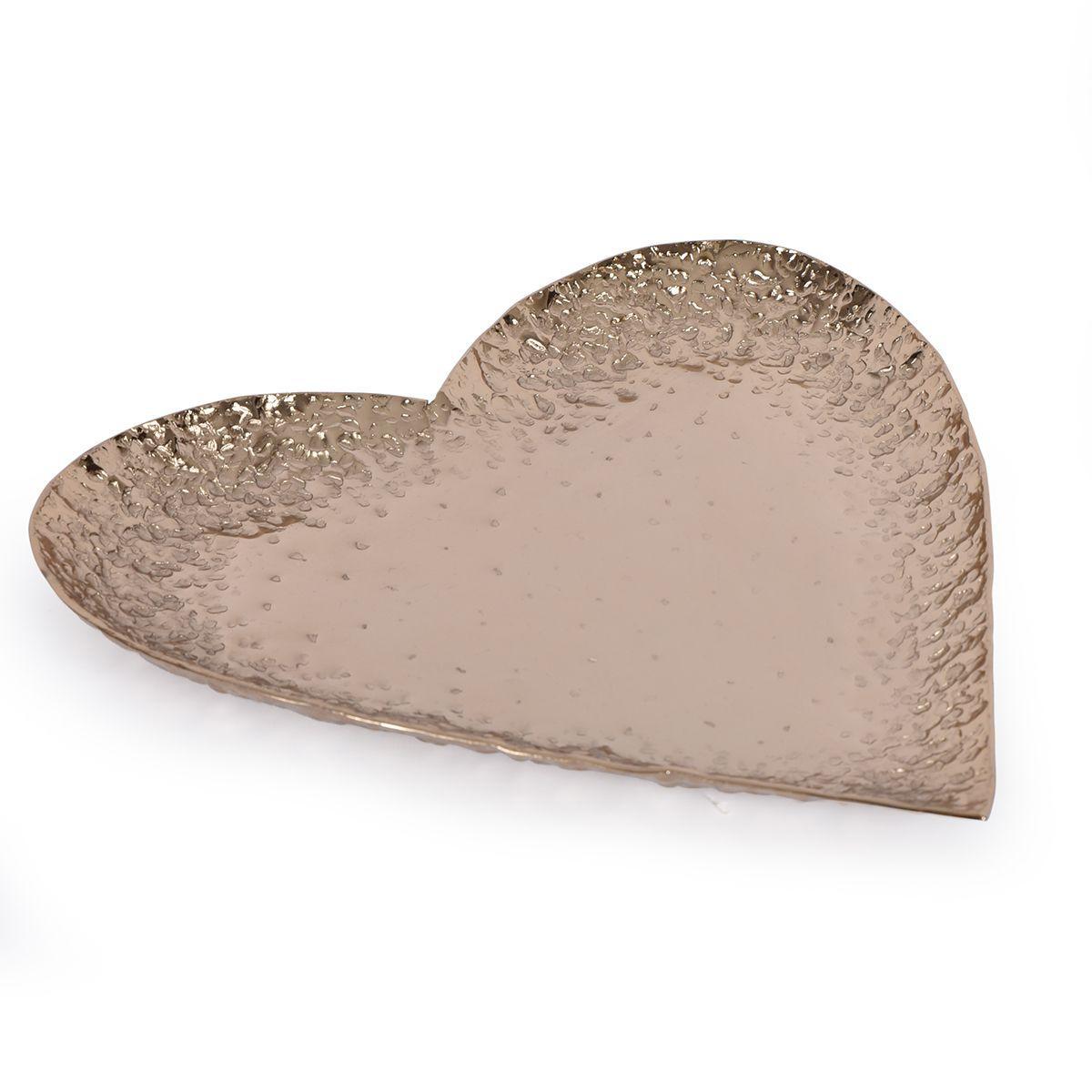 Блюдо в форме сердца из алюминия цвета шампанского Gros