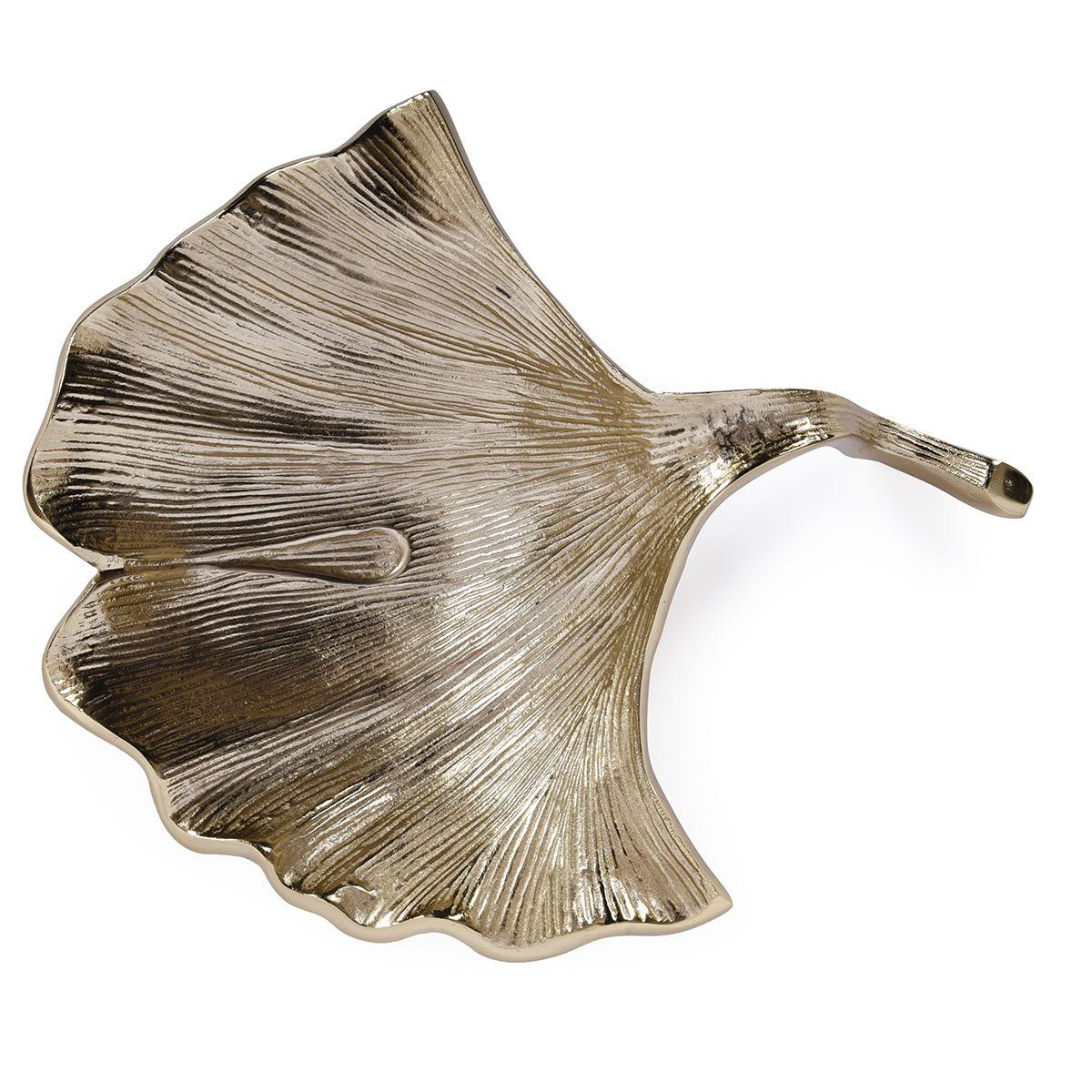 Золотистое блюдо-листок с рельефной поверхностью Gros