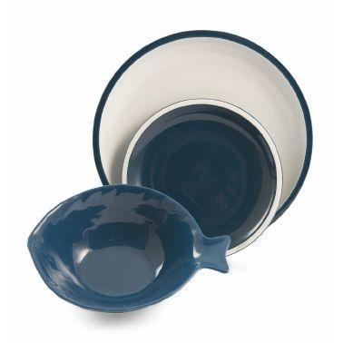 Комплект из трех сине-белых тарелок в морском стиле