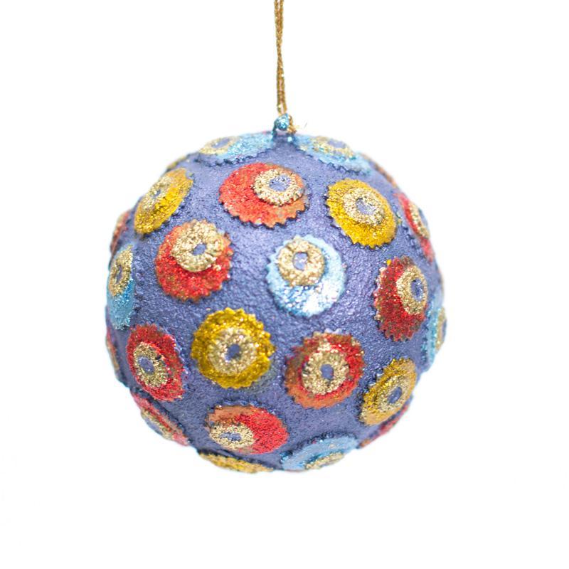 Новогодняя игрушка на елку фиолетового цвета