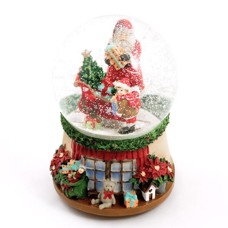 """Праздничная музыкальная шкатулка-шар """"Санта на санях"""""""