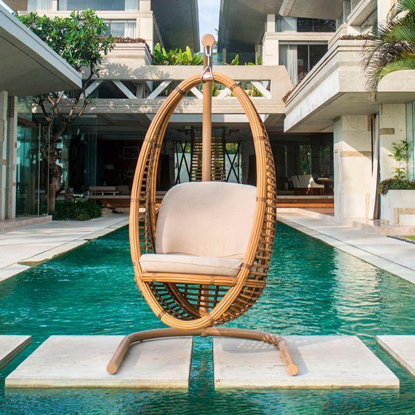 Кресло подвесное на стойке Heri Natural Mushroom