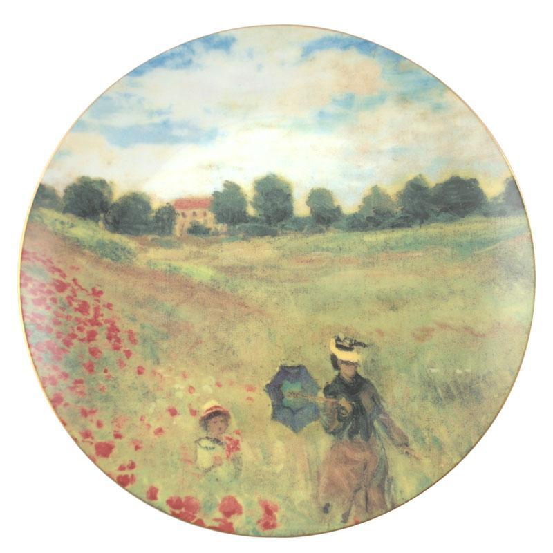 Тарелка декоративная с изображением деревенского пейзажа