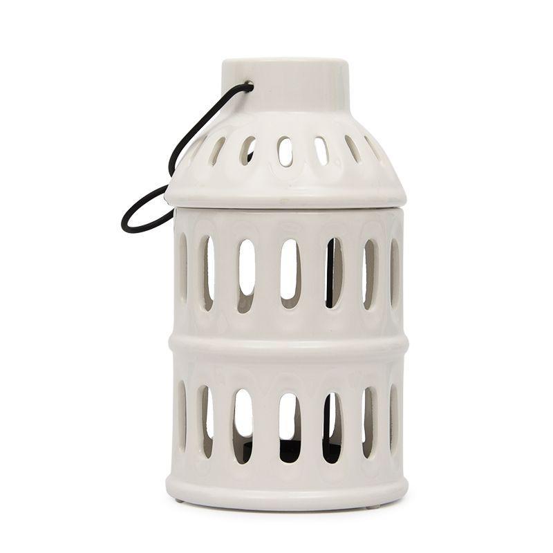 Подсвечник керамический белый в форме старинного фонаря