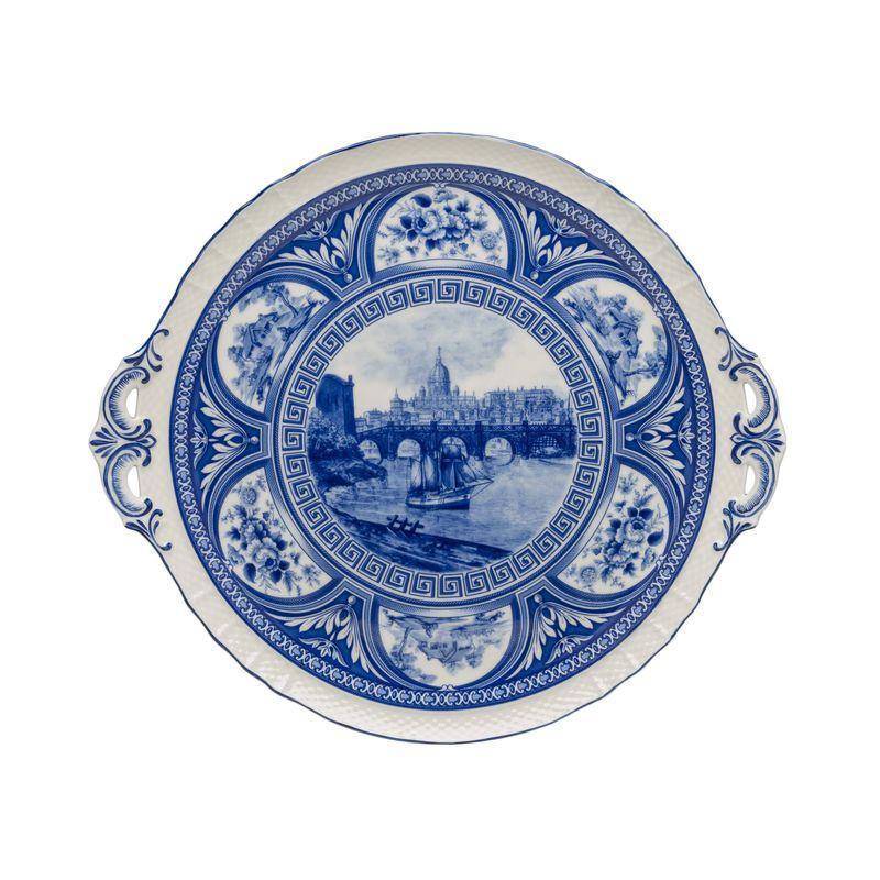 Блюдо круглое с ручками с изображением городского пейзажа
