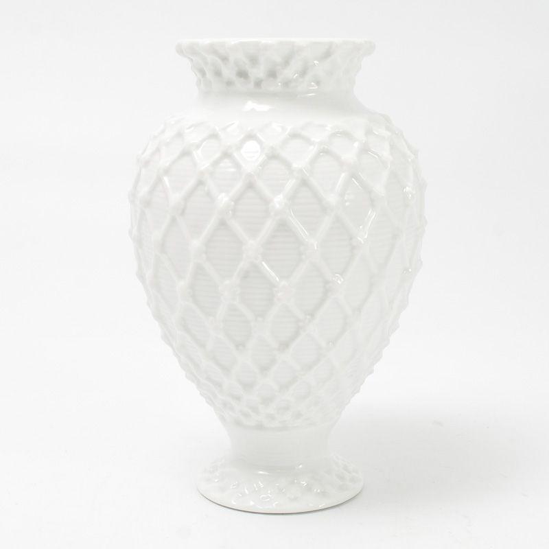 Ваза керамическая с рельефным декором Trame in bianco