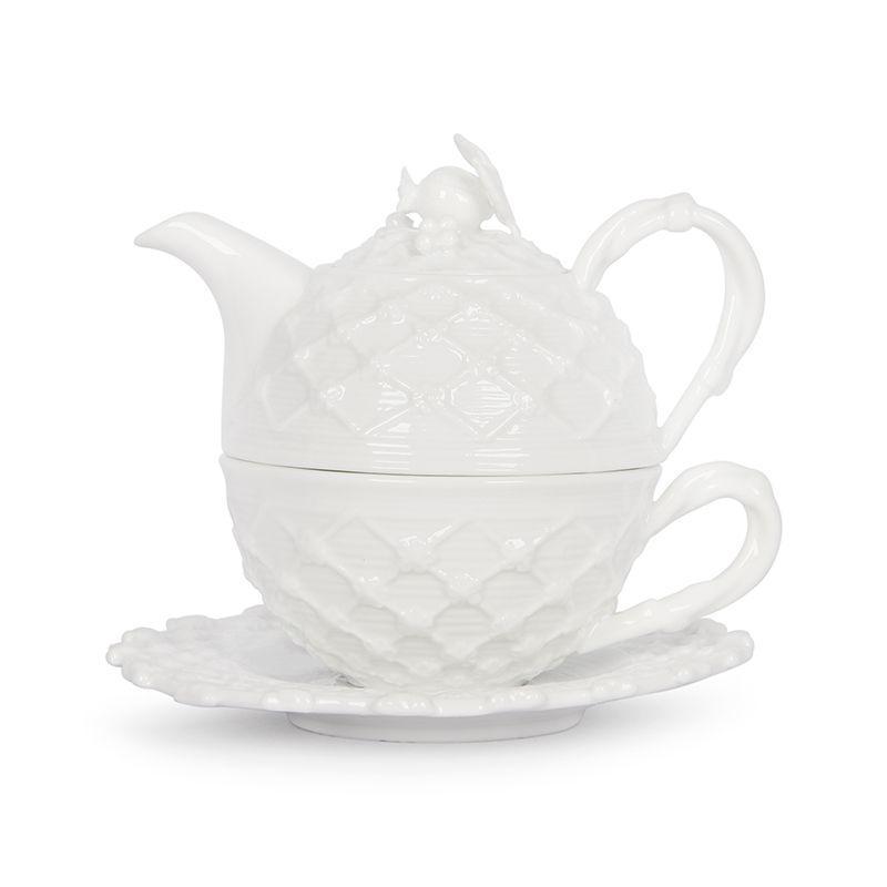 Белый кофейный набор из чашки и заварника Trame in bianco