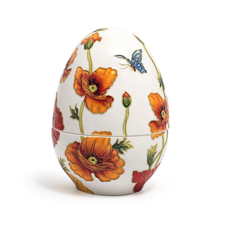 Большая керамическая шкатулка-яйцо с рельефным узором и ручной росписью