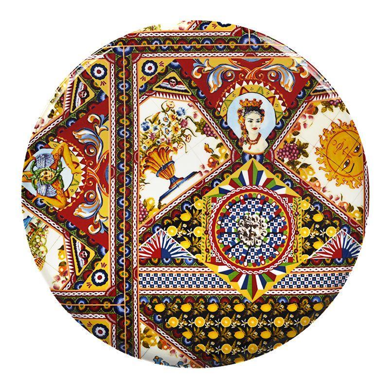 Круглое плоское блюдо с пестрым рисунком Santa Rosalia