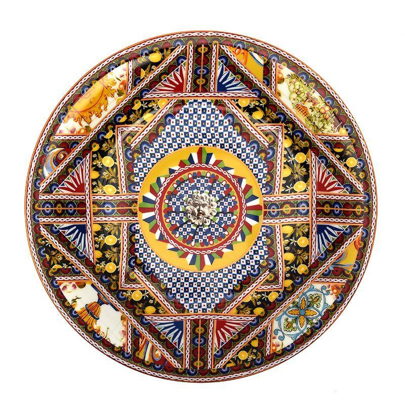Углубленное круглое блюдо с орнаментом Santa Rosalia