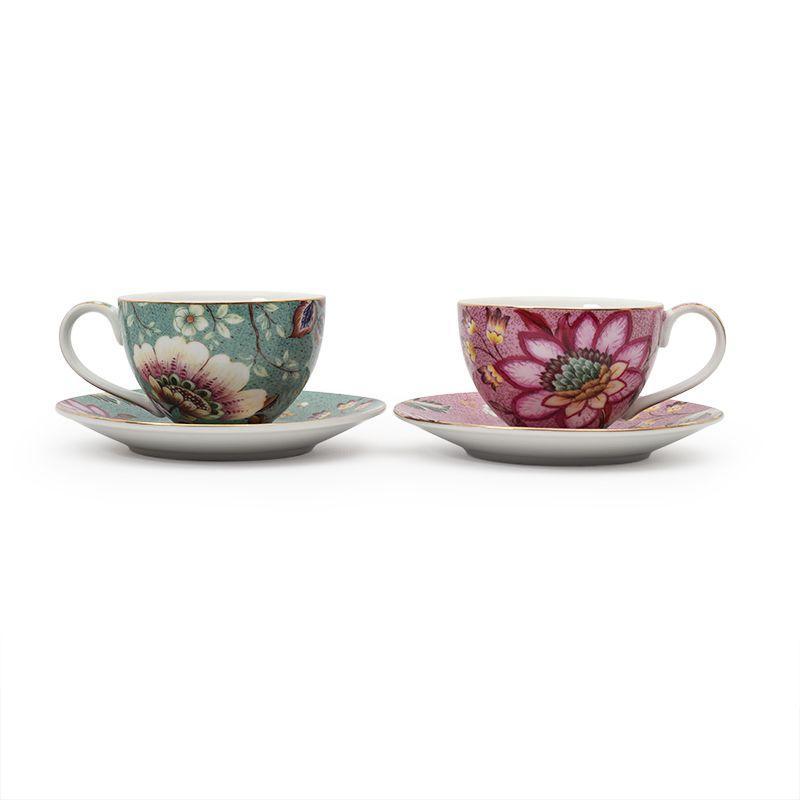 Набор разноцветных кофейных чашек с блюдцами 2 шт. Fleurs