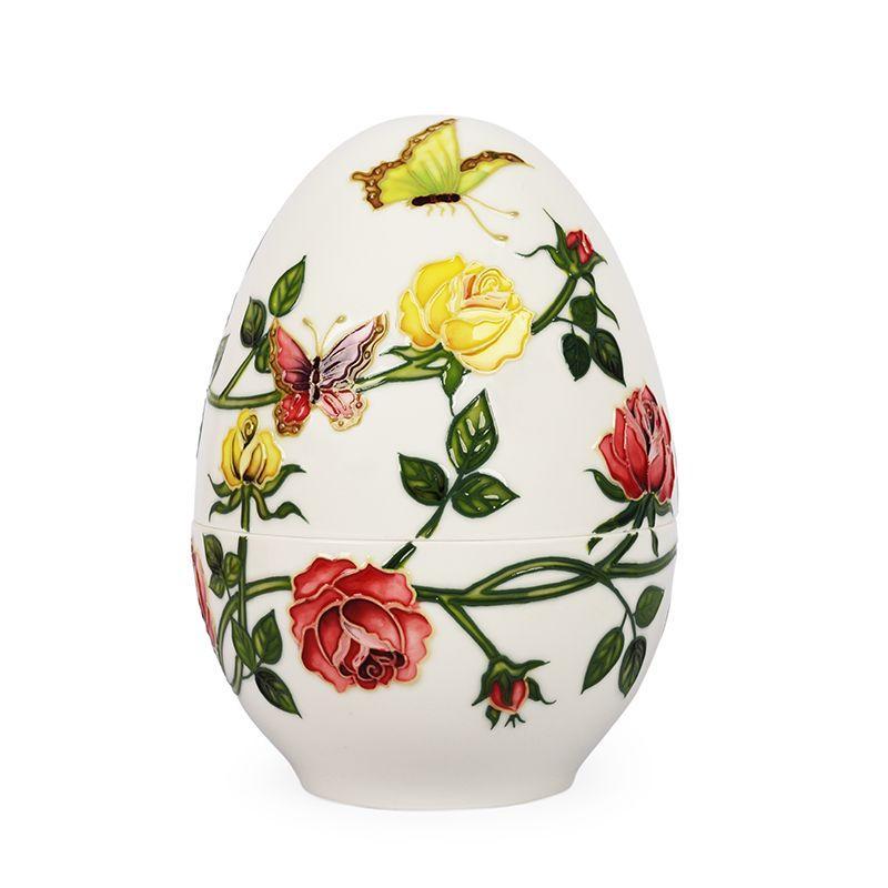 Шкатулка-яйцо из фарфора «Розы и бабочки» Palais Royal