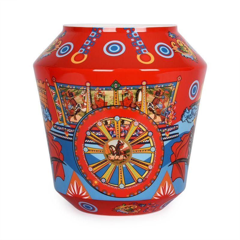 Невысокая красная ваза с сюжетным рисунком Mediterraneo