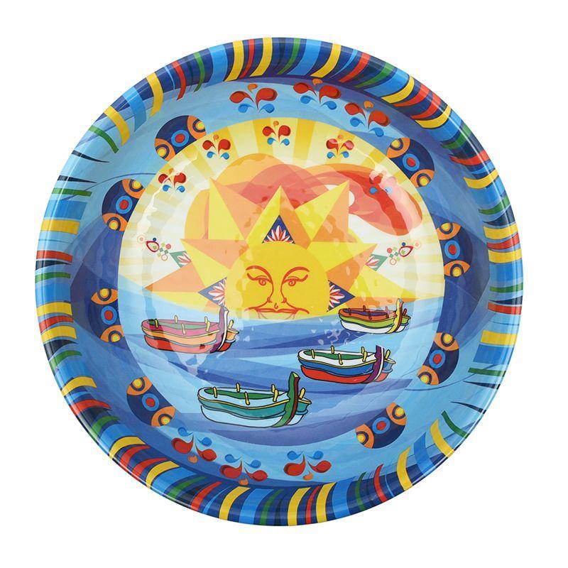 Глубокий салатник из меламина с синим узором Mediterraneo