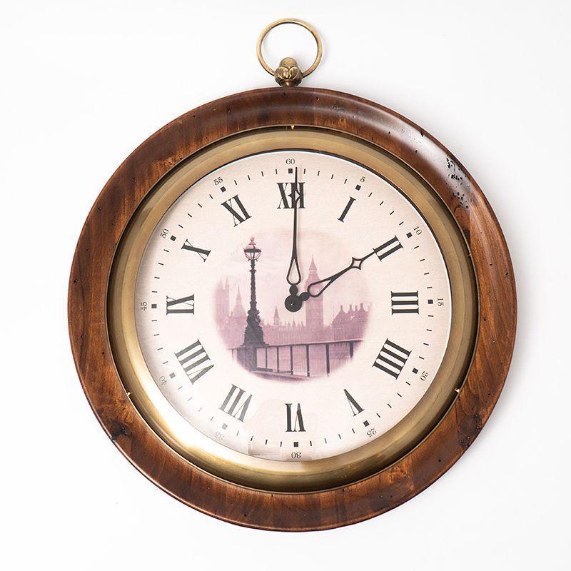 Часы круглые настенные из антикварного дерева под старину