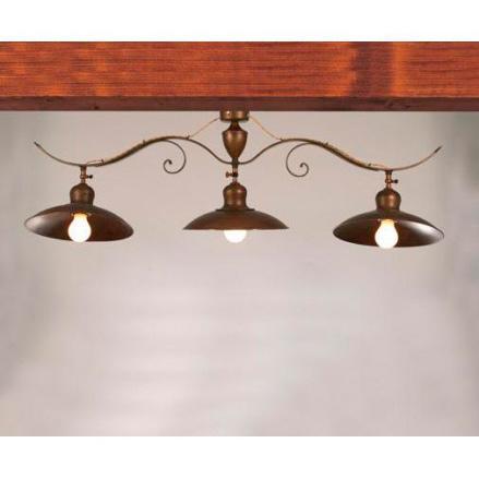 Потолочная люстра на 3 лампы с металлической тарелкой