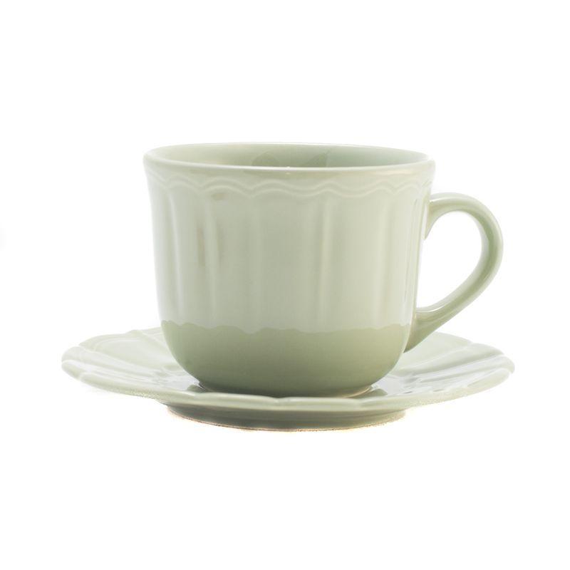 Чайная чашка с блюдцем светло-зеленого оттенка Ritmo