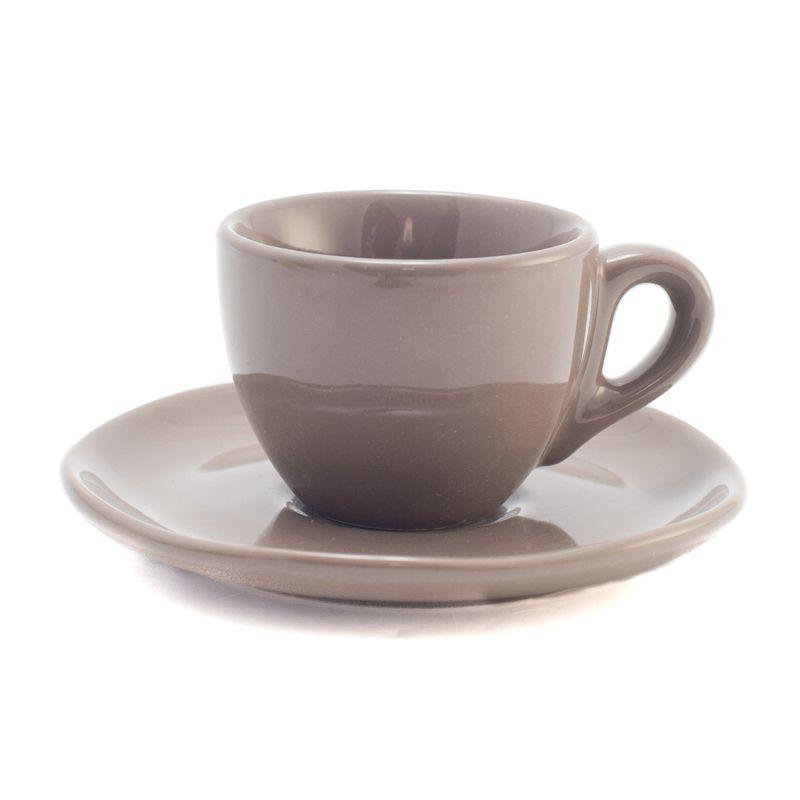 Чашка с блюдцем серо-бежевого оттенка Ritmo