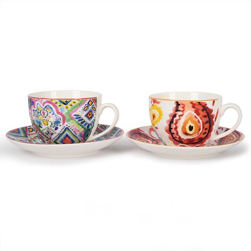 Набор из 2-х чайных чашек с блюдцами с ярким узором Samba