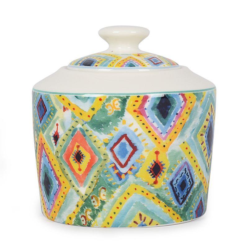 Сахарница из фарфора бирюзовая с орнаментом Samba