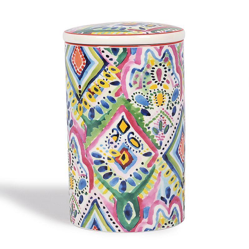 Емкость для хранения из фарфора с ярким орнаментом Samba