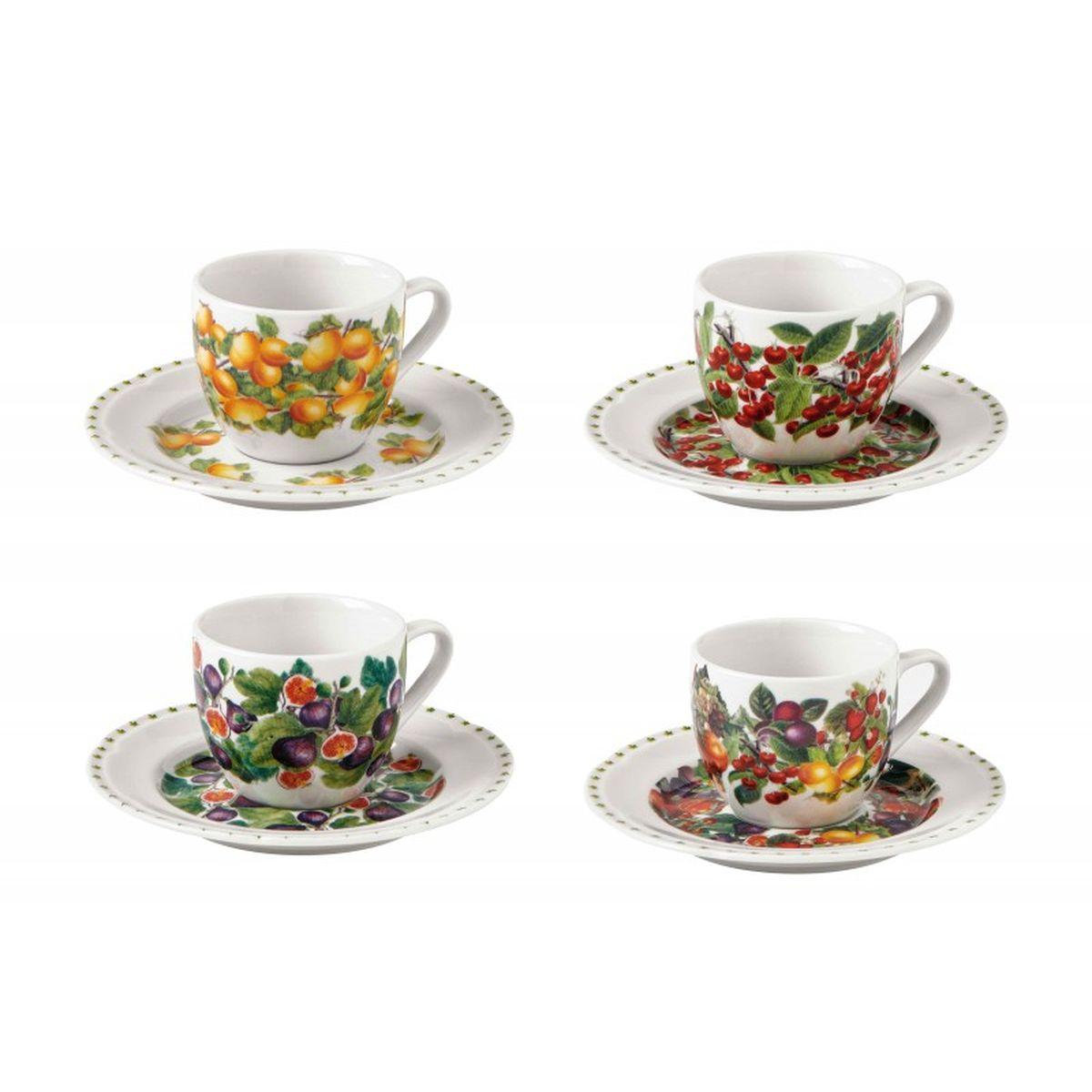 Набор из 4-х кофейных чашек с блюдцами с узором Le Primizie