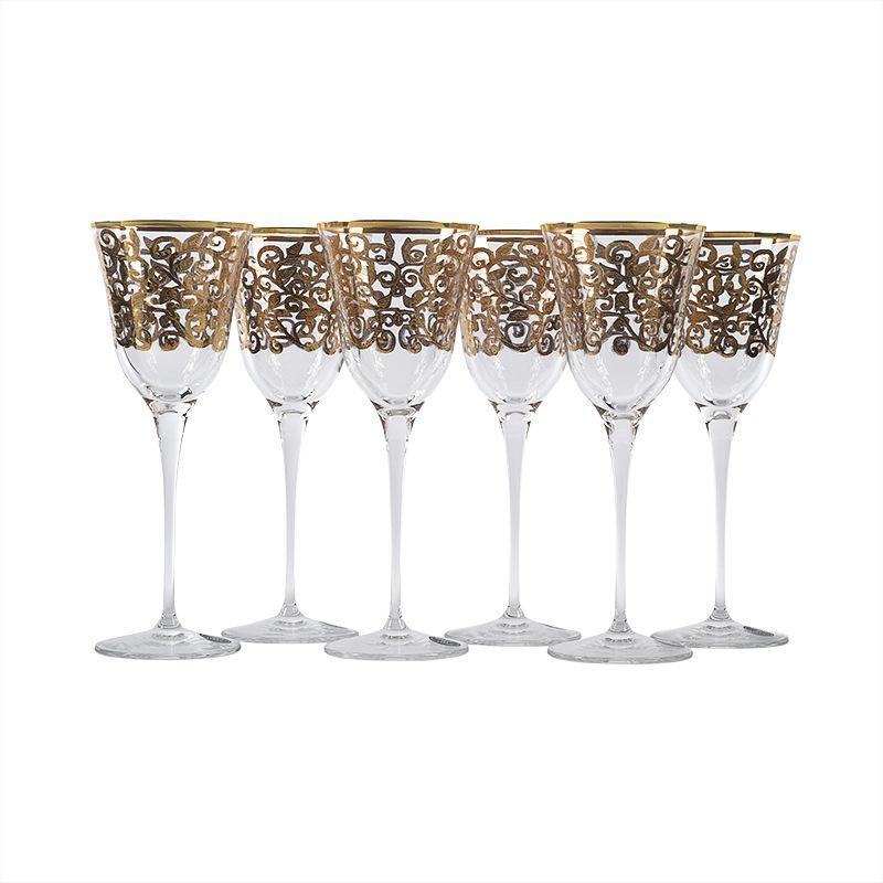 Набор из 6-ти бокалов для вина с золотым узором Julia Oro Maison