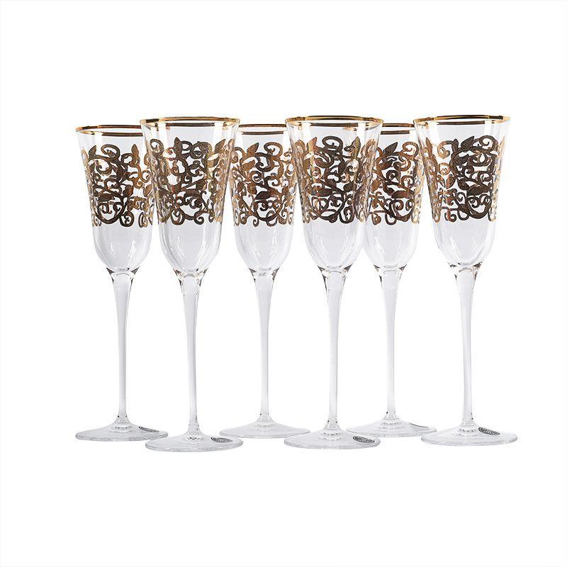 Набор из 6-ти бокалов для шампанского с позолотой Julia Oro Maison