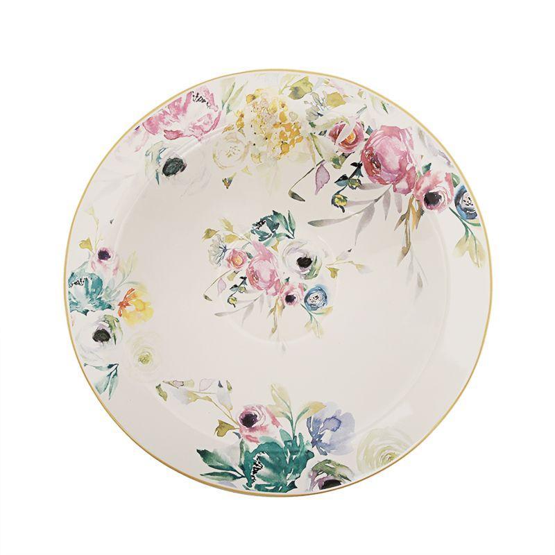 Блюдо круглое с цветочным рисунком в стиле акварели Paradise
