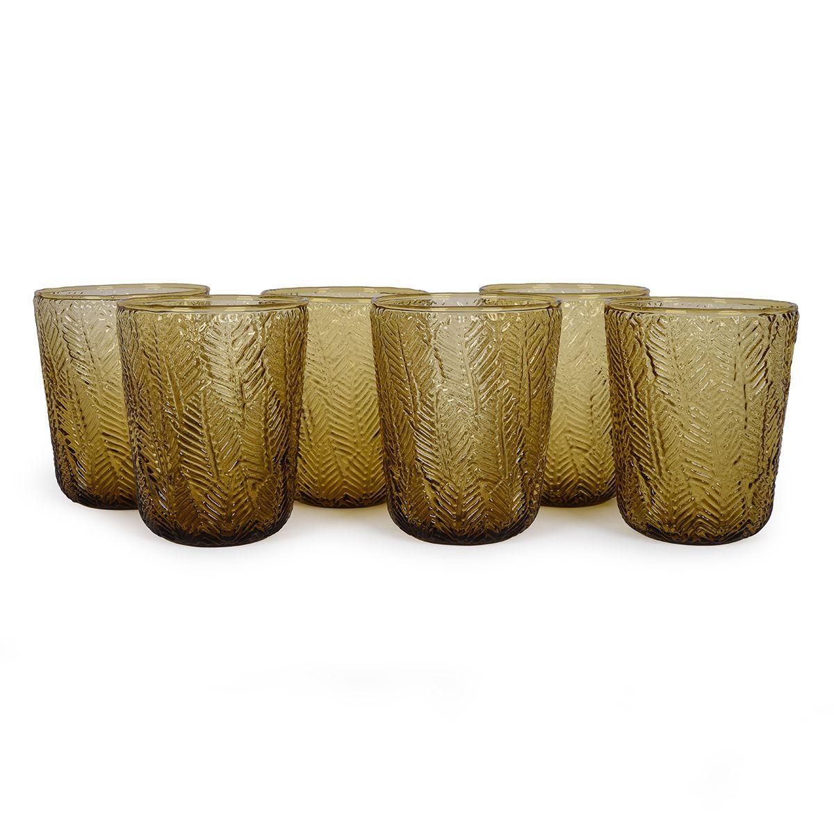 Стеклянные стаканы янтарного цвета, набор 6 шт. Montego
