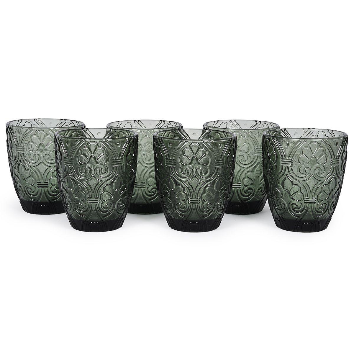 Темно-серые стеклянные стаканы, набор 6 шт. Corinto
