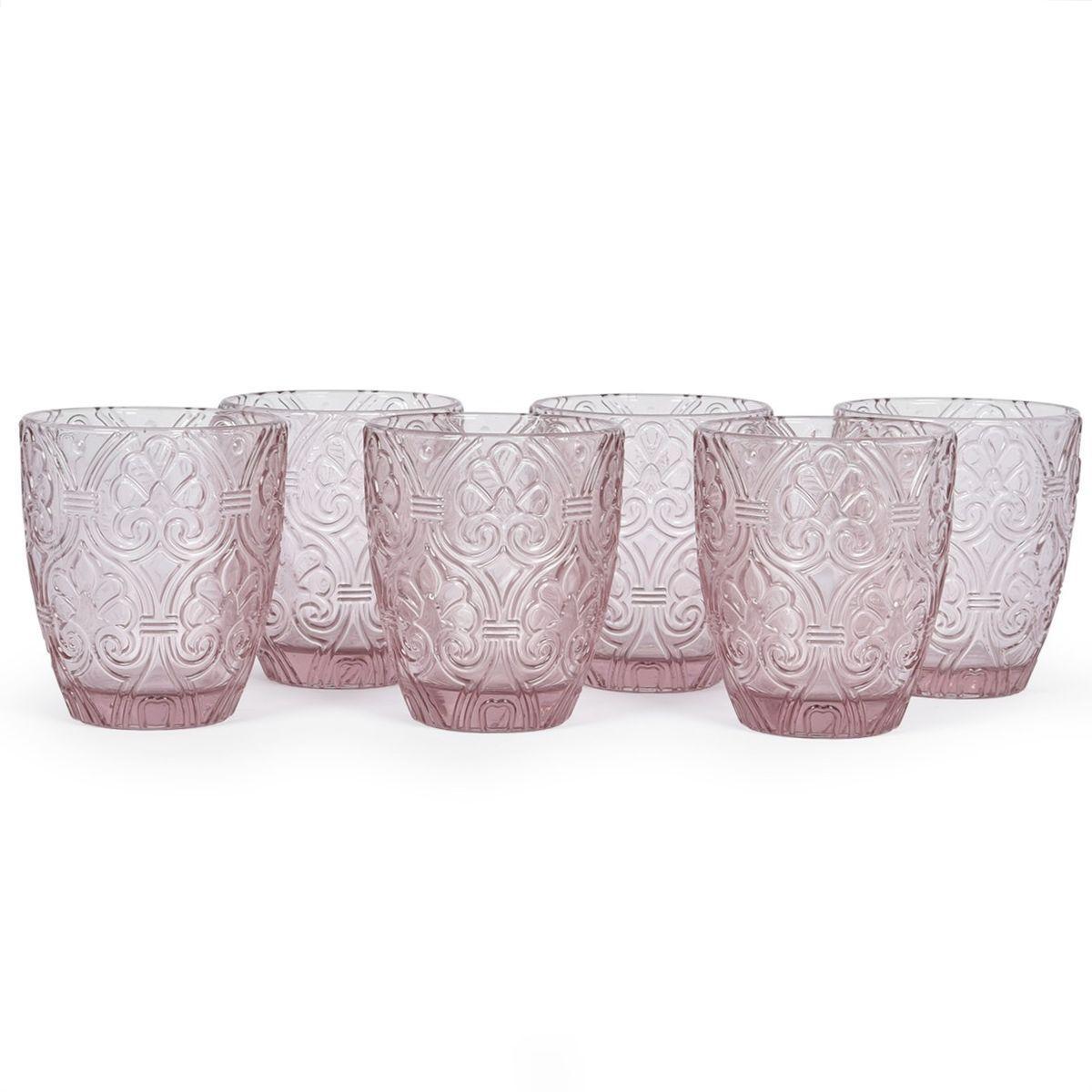 Набор из 6-ти стаканов из стекла розового цвета Corinto