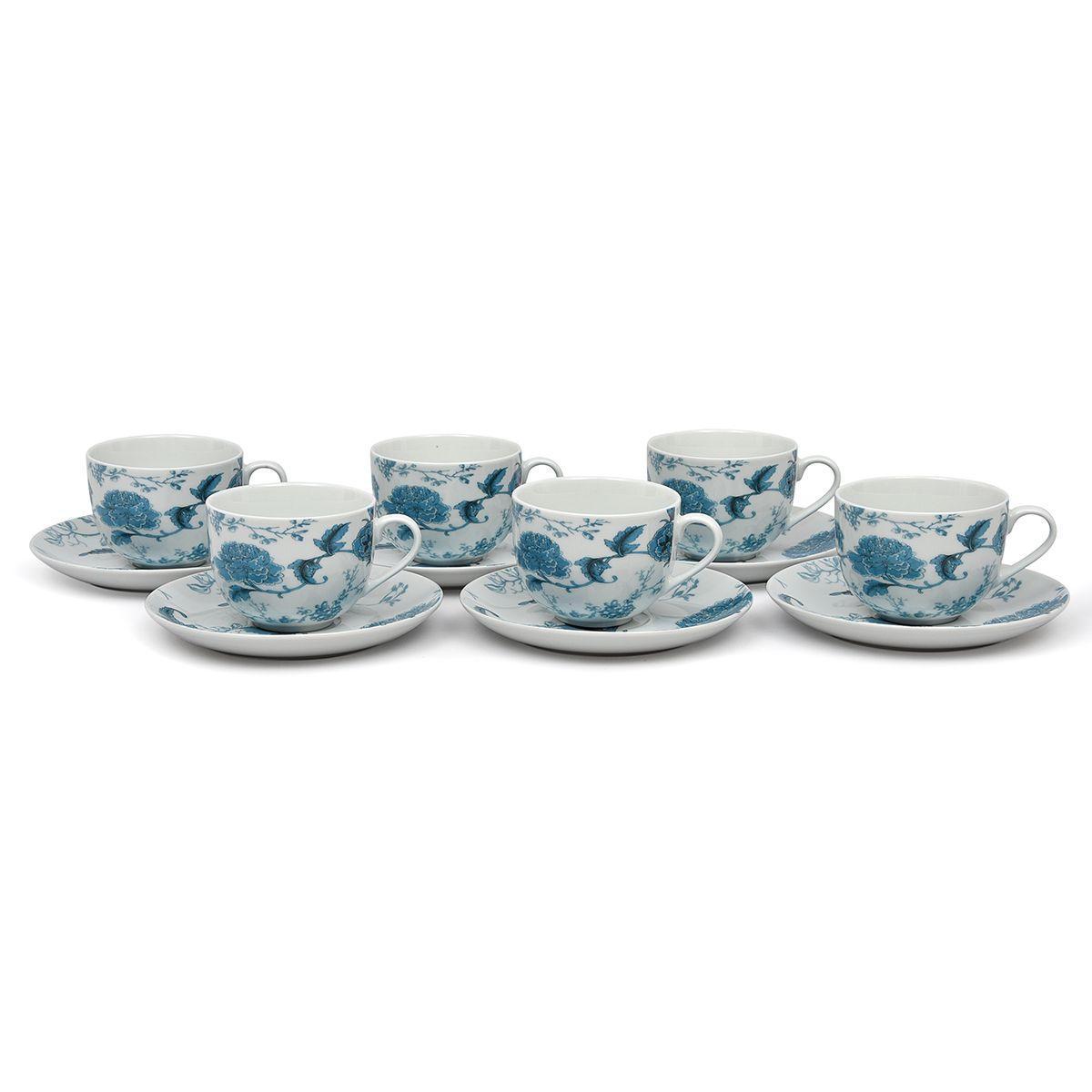 """Чайные чашки с блюдцами, набор 6 шт. """"Лазурный дракон"""""""