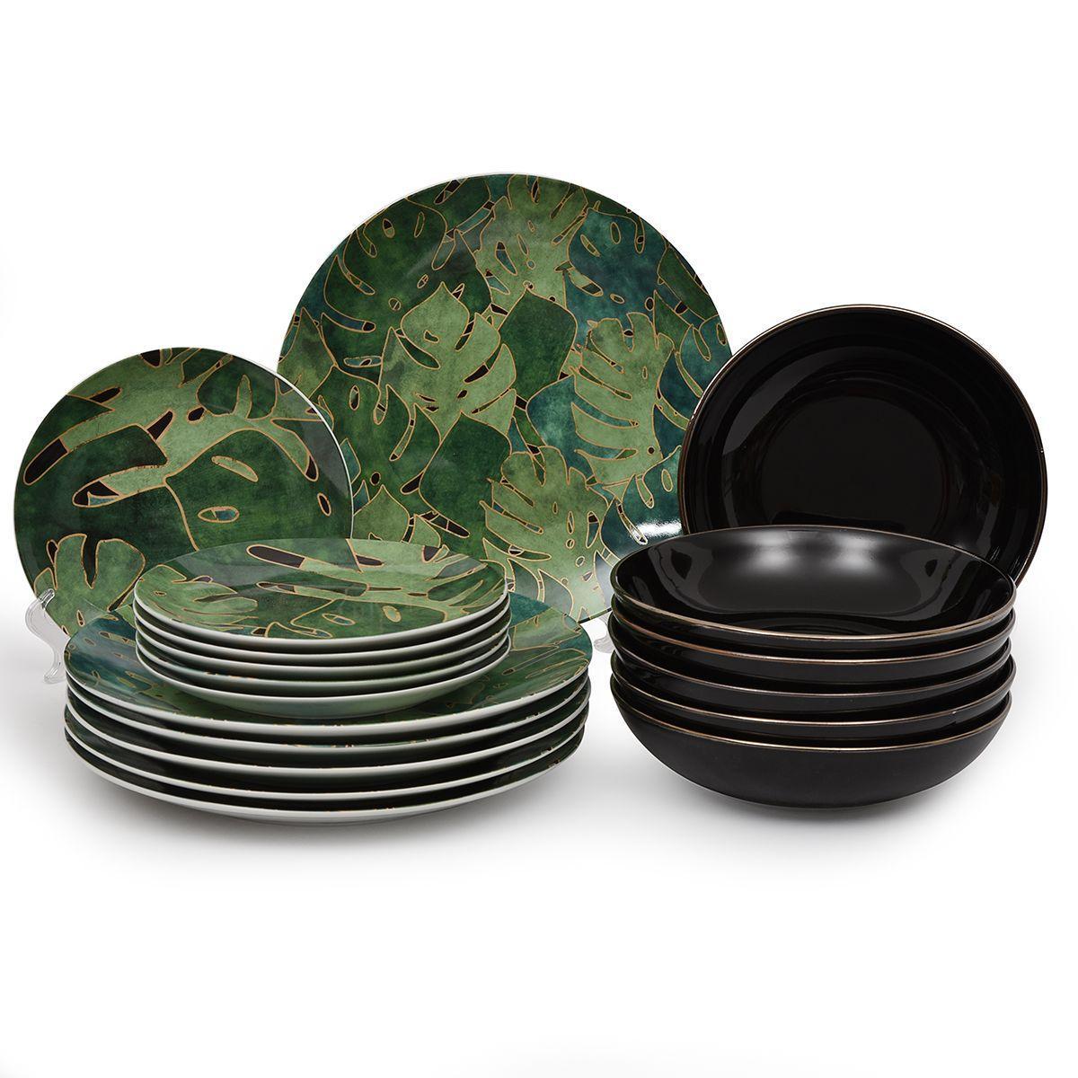 Столовый сервиз с рисунком из зеленых листьев Luxury Palms