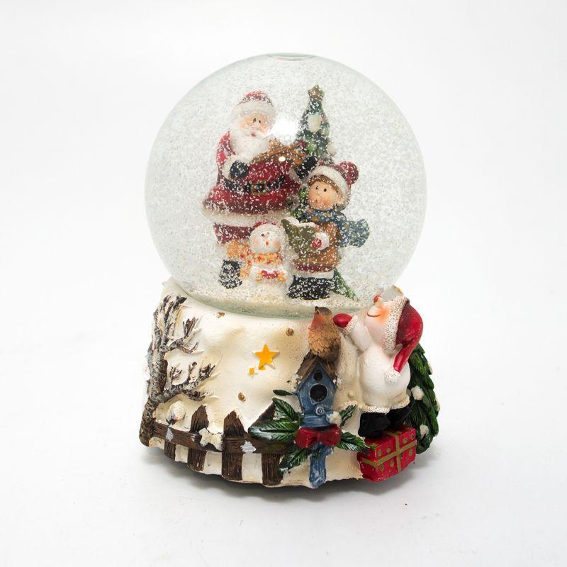 Музыкальная шкатулка Шар со снегом и Сантой