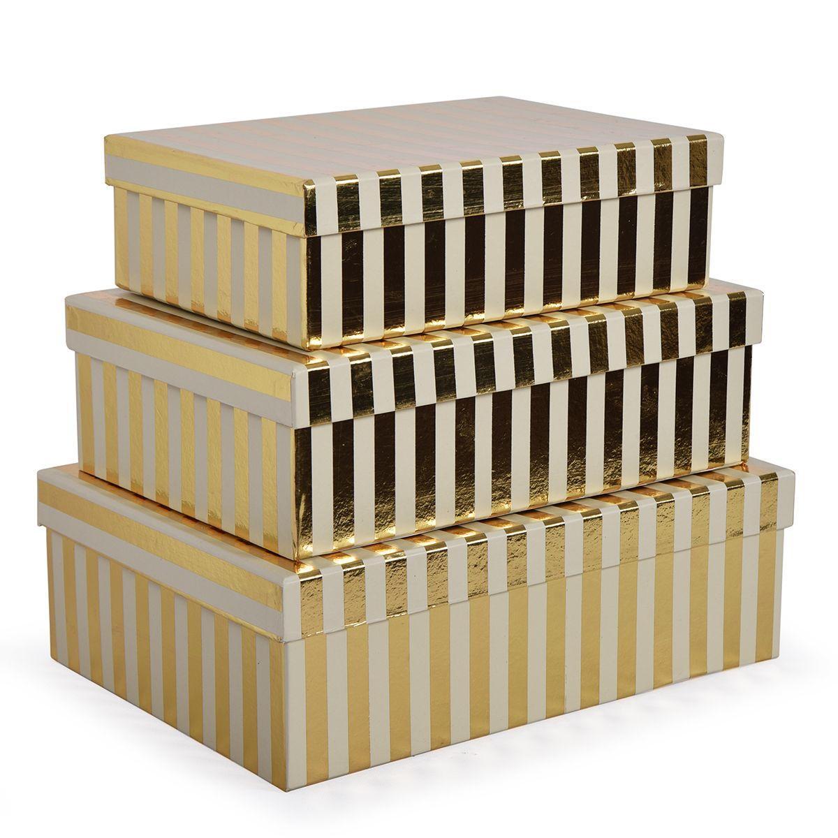 Набор из 3-х подарочных коробок золотистого цвета