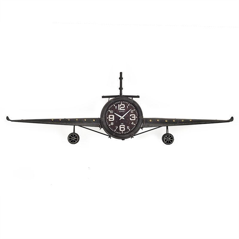 Часы металлические в ретро стиле самолет Fokker Loft Clocks & Co