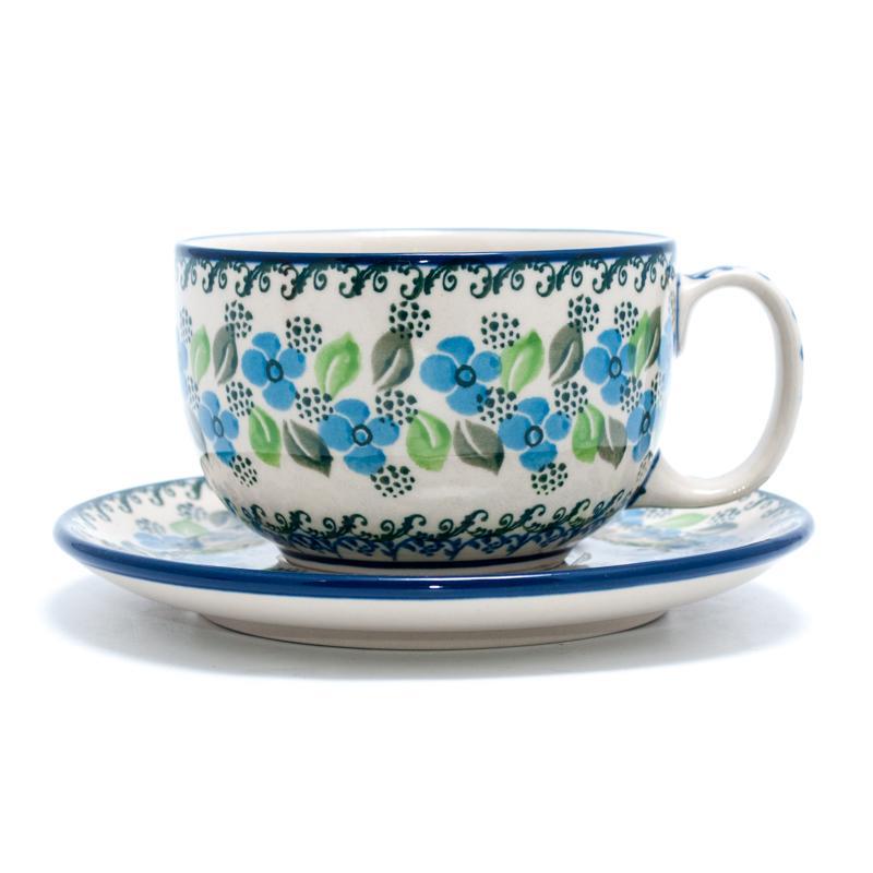 """Чашка с блюдцем с синим цветочным узором """"Вербена"""""""