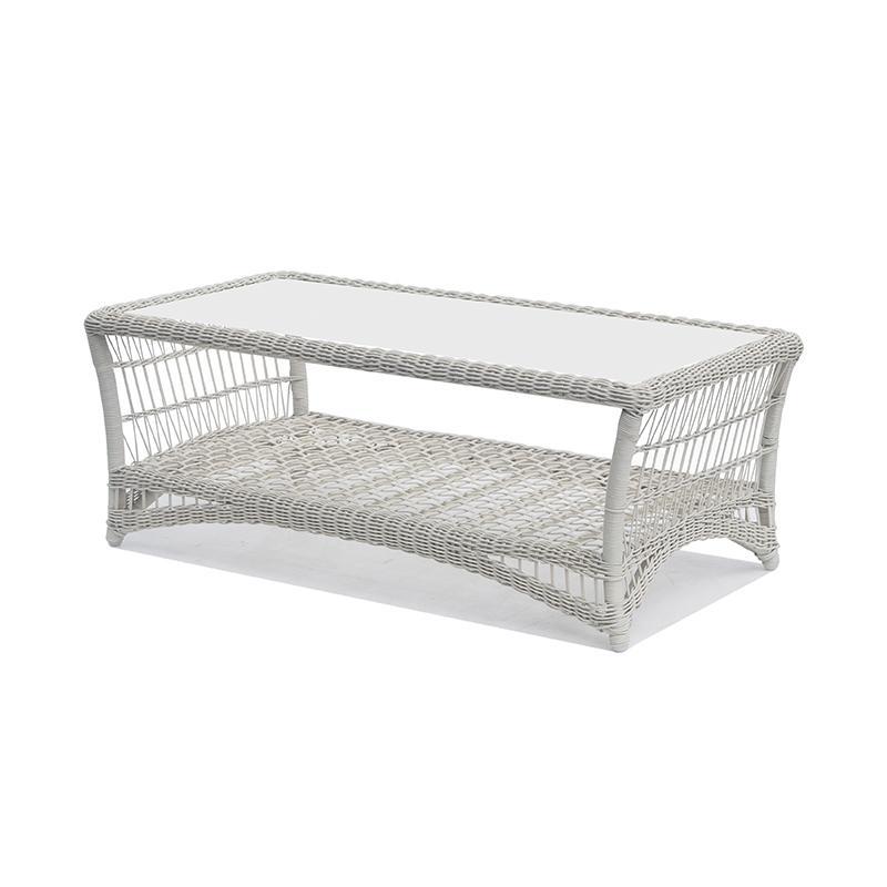 Журнальный столик из белого искусственного ротанга Arena