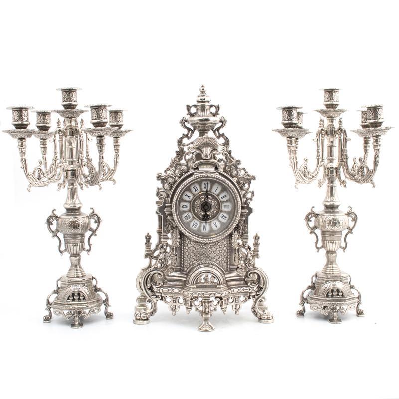 Набор часы и 2 подсвечника под бронзу