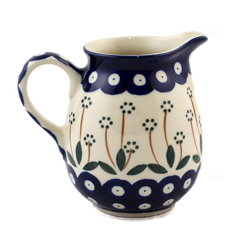 Молочник с ручкой из прочной керамики с синим узором